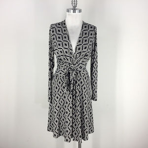 Cache L Black White Issa Dress Faux Wrap Flare